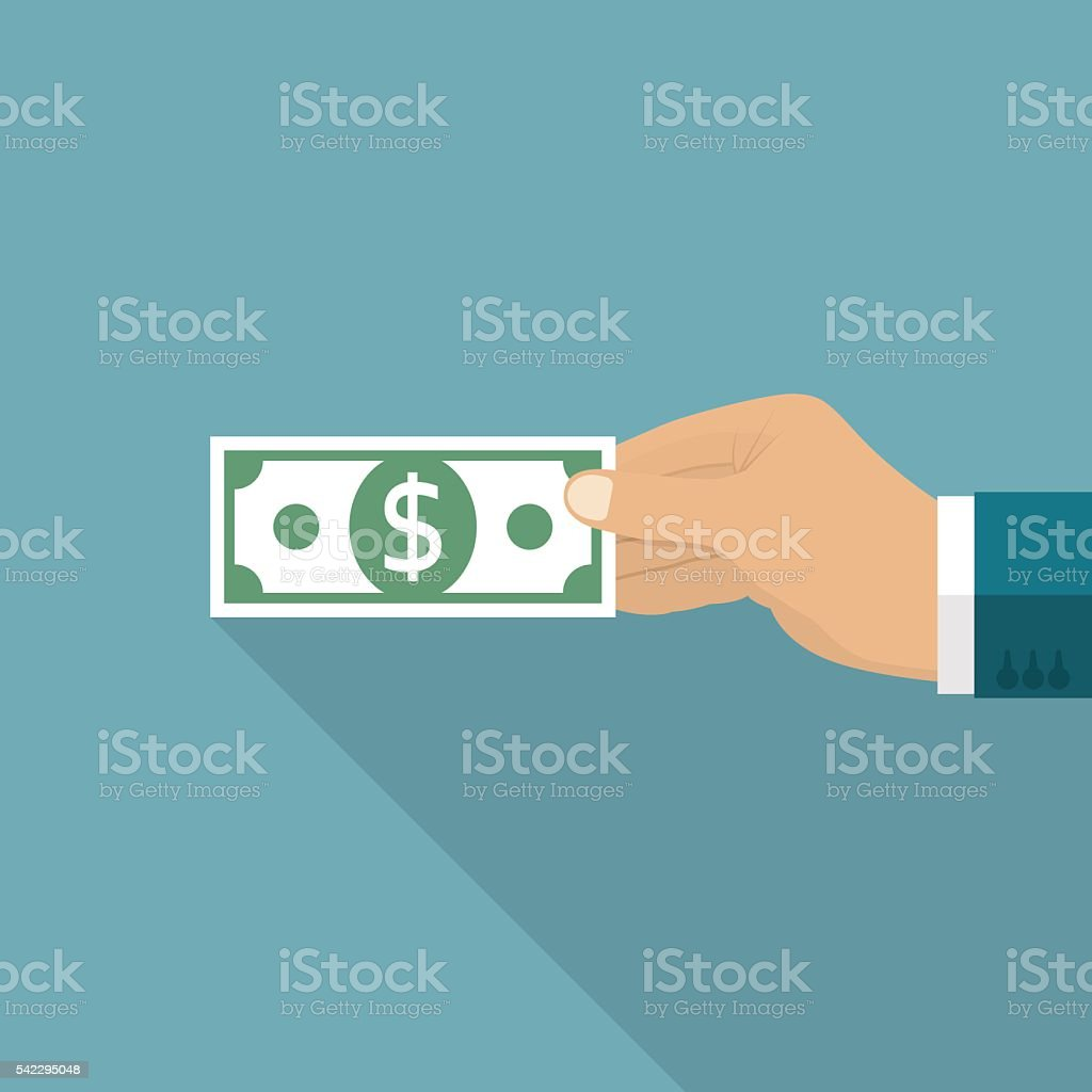 Hand holding dollar. Giving money. vector art illustration