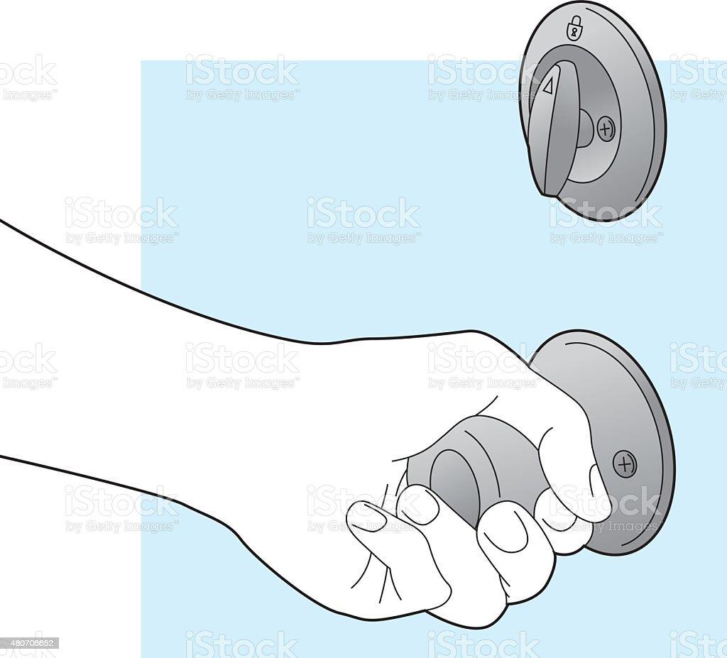 Hand Holding Door Knob Line Art vector art illustration