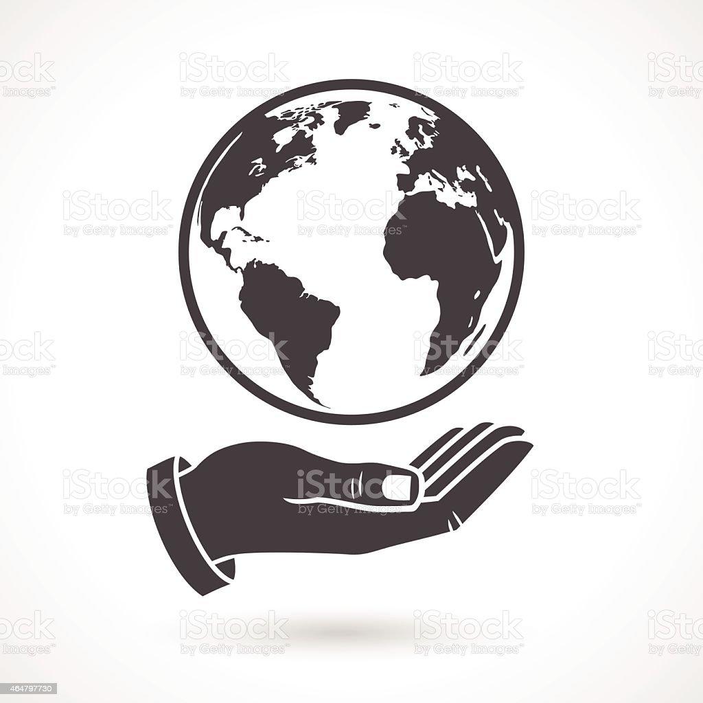 Hand Holding Earth Globe Symbol vector art illustration