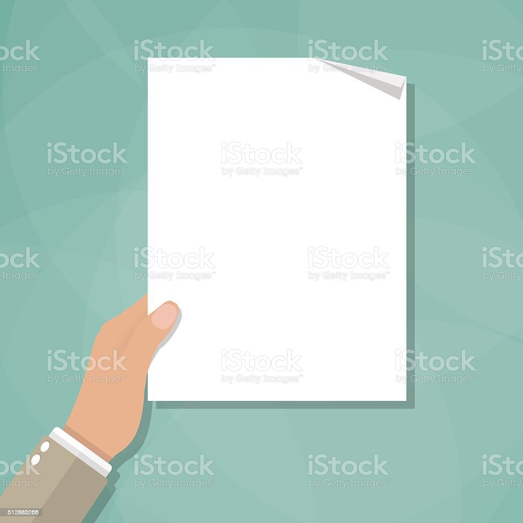 hand holding empty blank paper vector art illustration