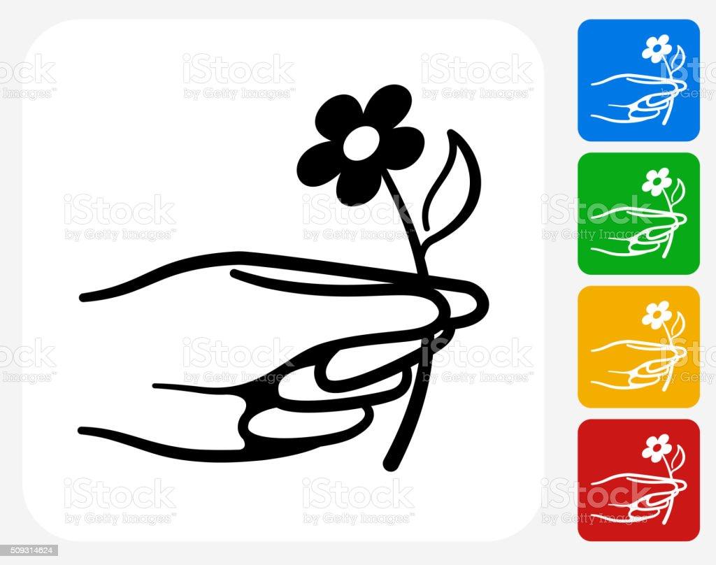 Hand Holding Flower Icon Flat Graphic Design vector art illustration