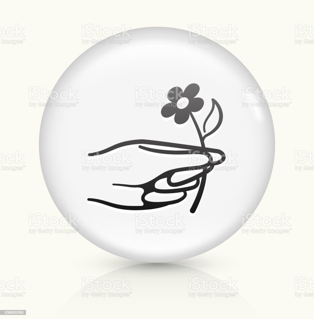 Hand Holding Flower icon on white round vector button vector art illustration