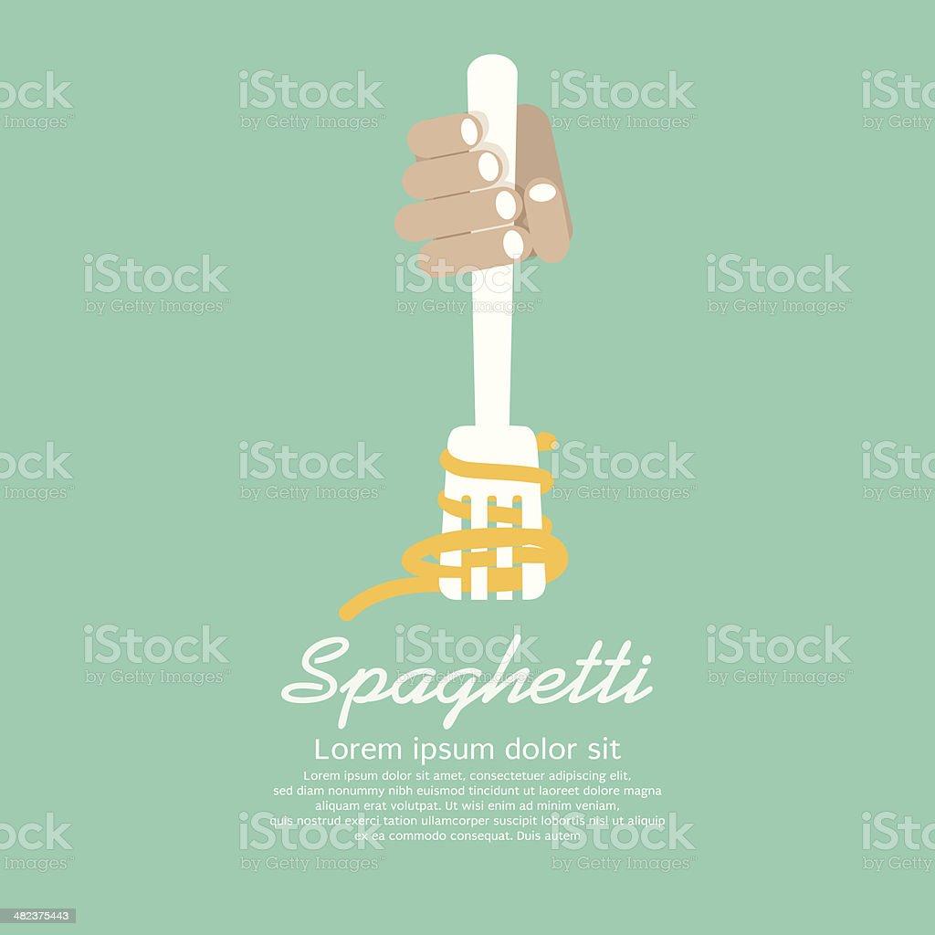 Hand Holding Fork With Spaghetti vector art illustration