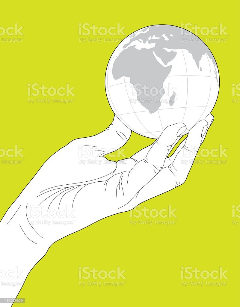 Hand Holding Globe royalty-free stock vector art
