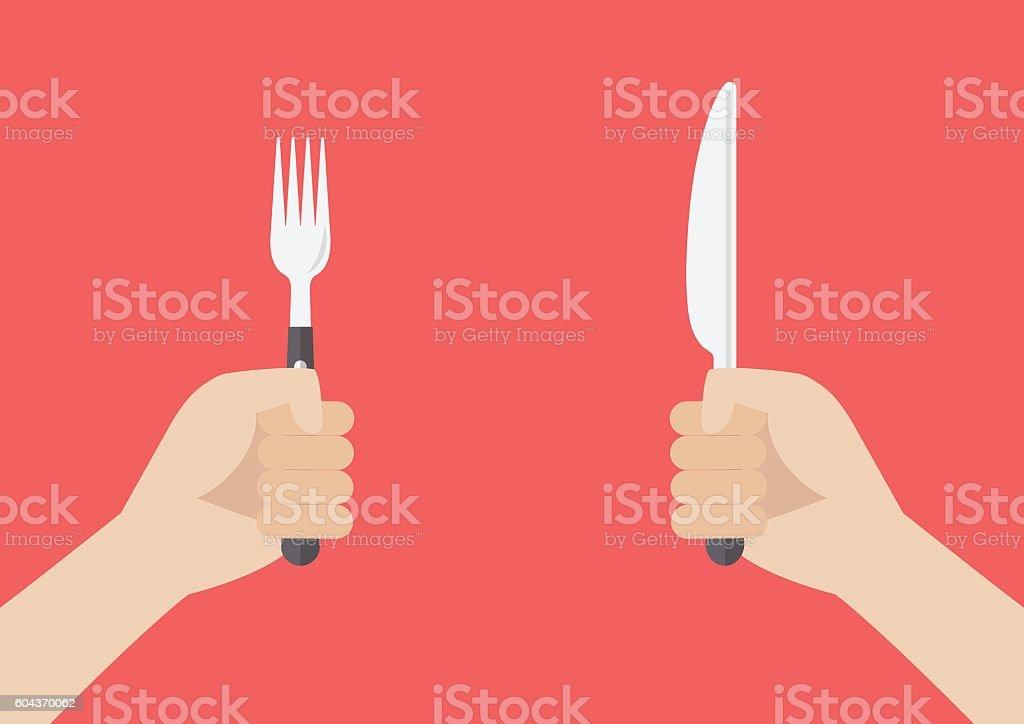 Hand holding grilled sausage on the fork vector art illustration