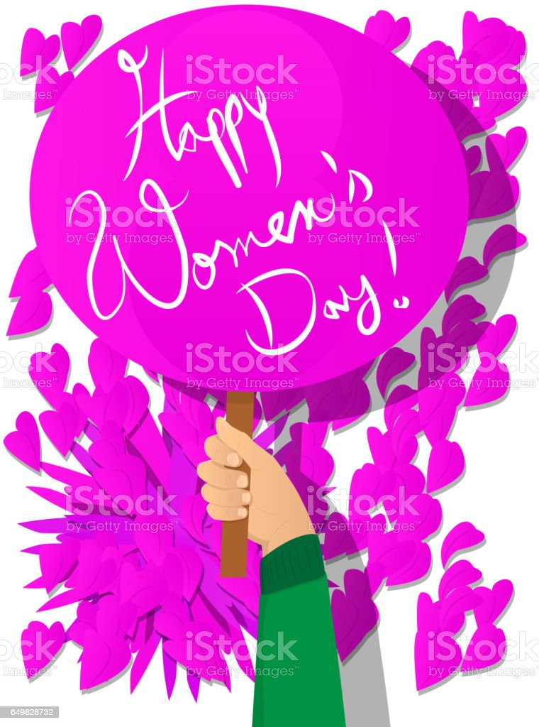 Hand holding Happy Women's Day sign. vector art illustration