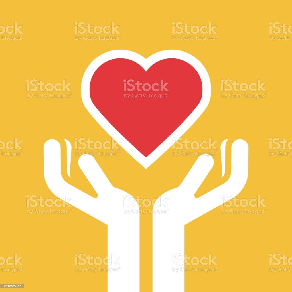 Hand holding heart healthcare vector art illustration