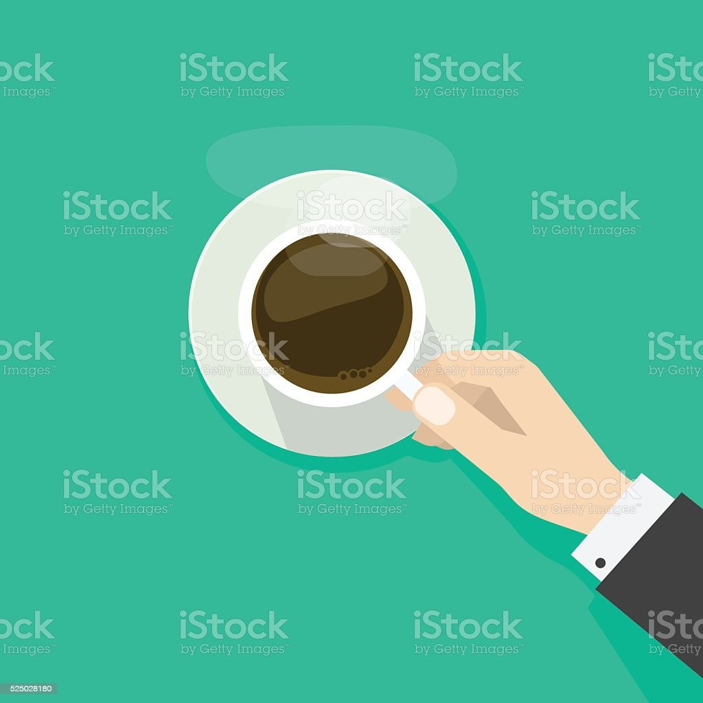 Hand holding hot coffee cup with steam on plate vector art illustration
