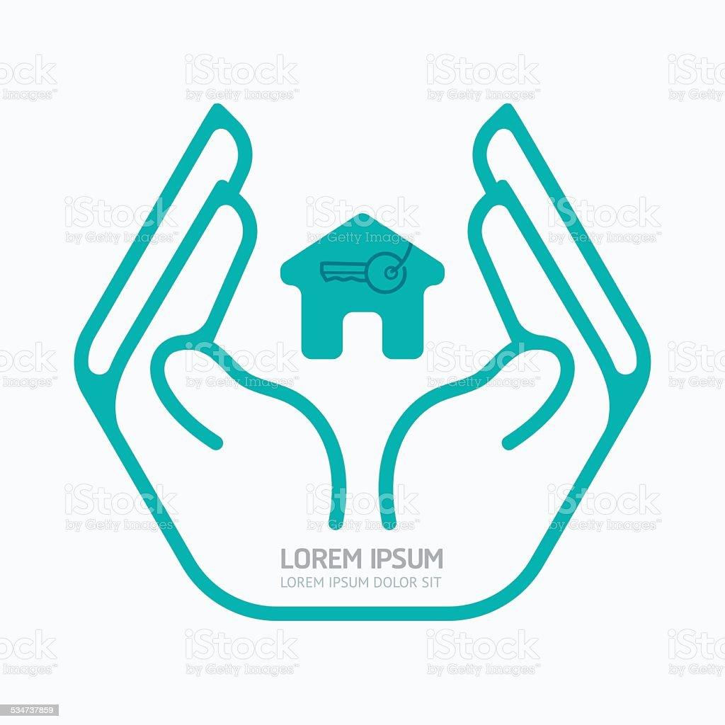 Hand holding house.flat logo design,safety care concept. vector art illustration