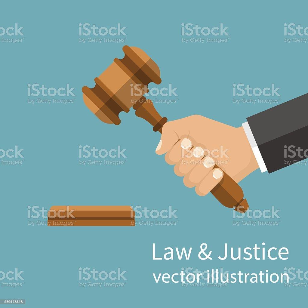 Hand holding judges gavel. vector art illustration