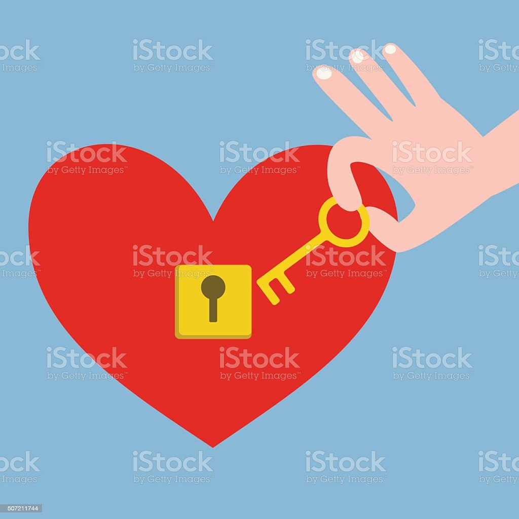 Hand holding key and red heart with keyhole vector art illustration
