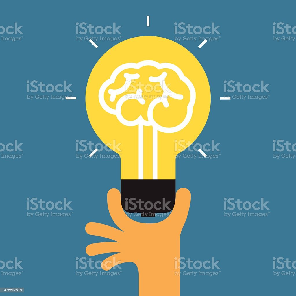Hand holding light bulb. Concept of the success idea. vector art illustration