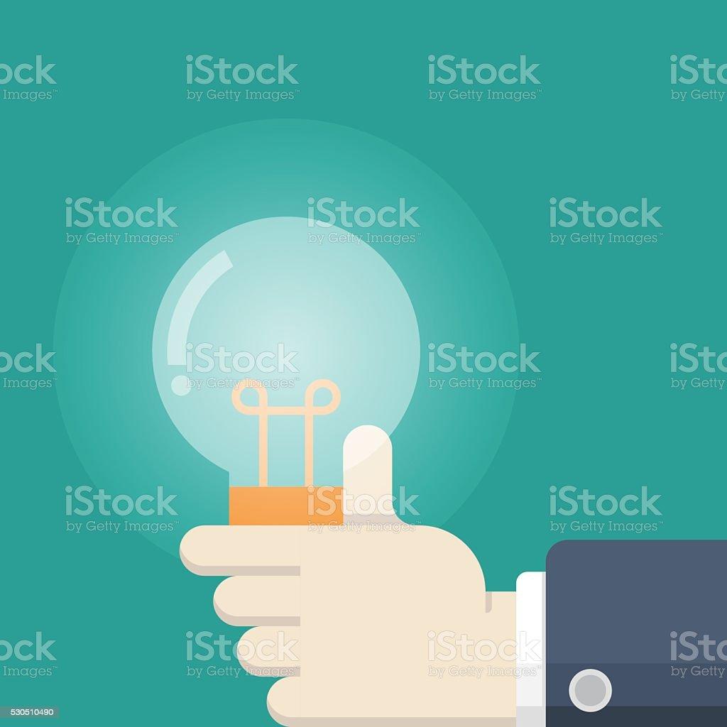 hand holding light Bulb, idea, solution icon vector art illustration