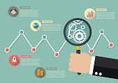 Hand holding magnifying glass with stock market graph infographi