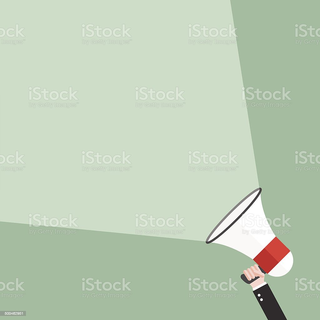 Hand holding megaphone broadcast vector art illustration