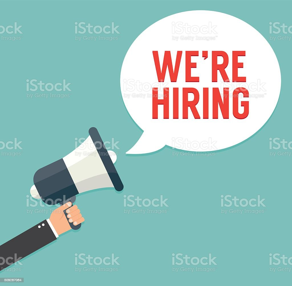 Hand holding megaphone - We Are Hiring vector art illustration