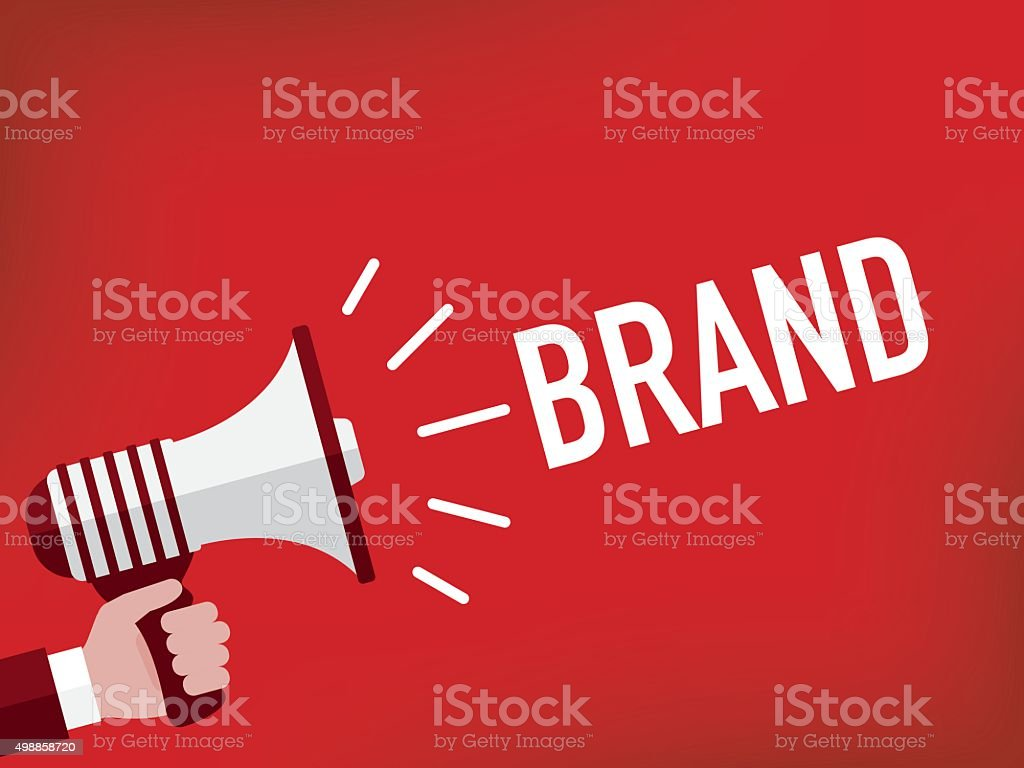 Hand holding megaphone with brand announcement vector art illustration