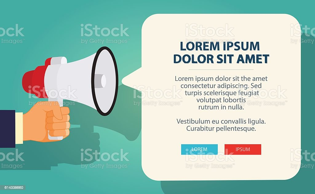 Hand holding megaphone with bubble speech. Vector Illustration vector art illustration
