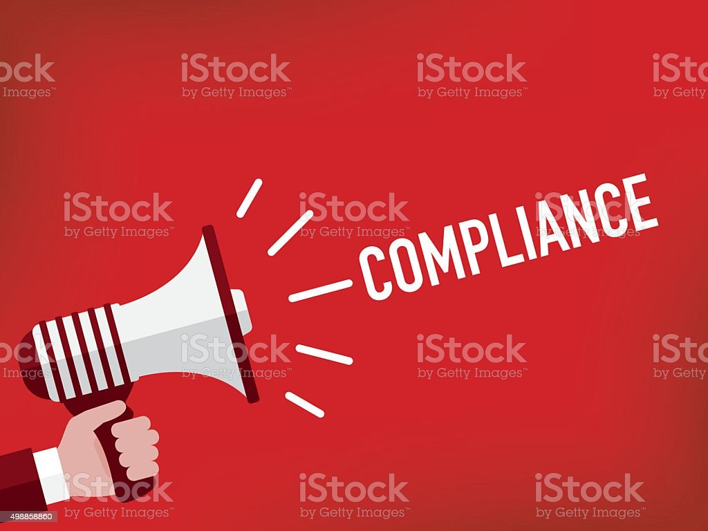 Hand holding megaphone with compliance announcement vector art illustration