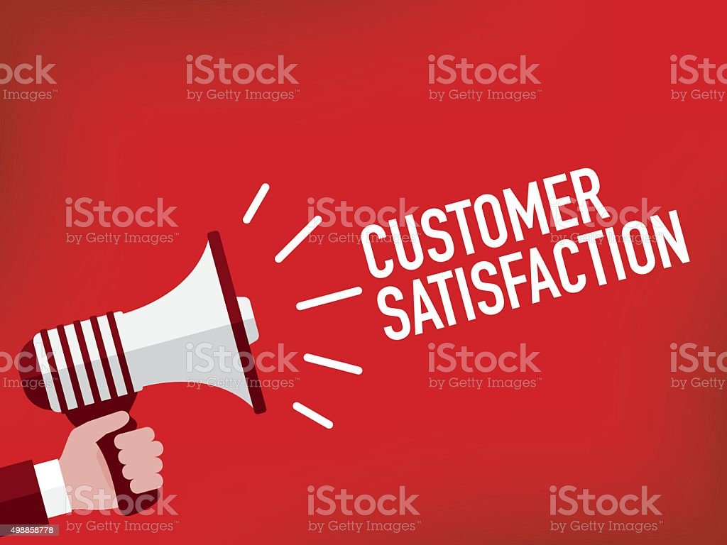 Hand holding megaphone with customer satisfaction announcement vector art illustration