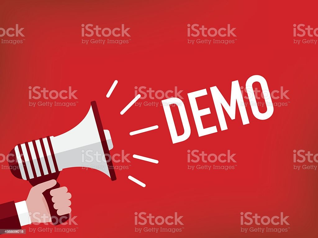 Hand holding megaphone with demo announcement vector art illustration