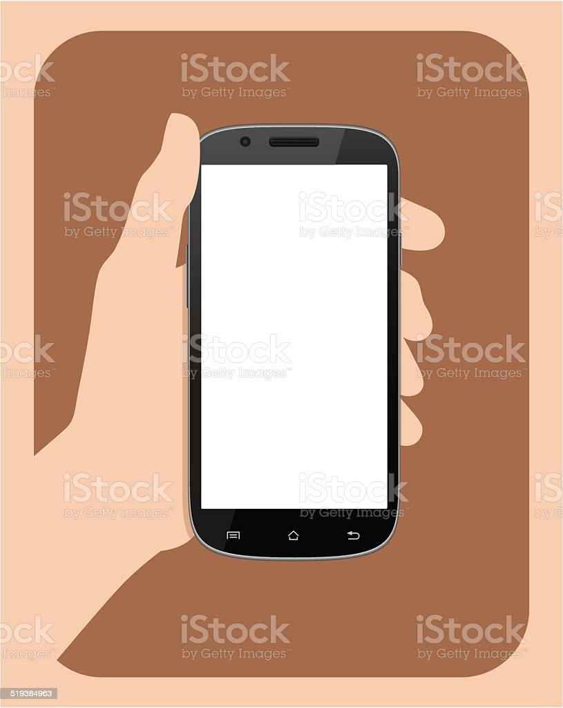 Hand holding Mobile phone II vector art illustration