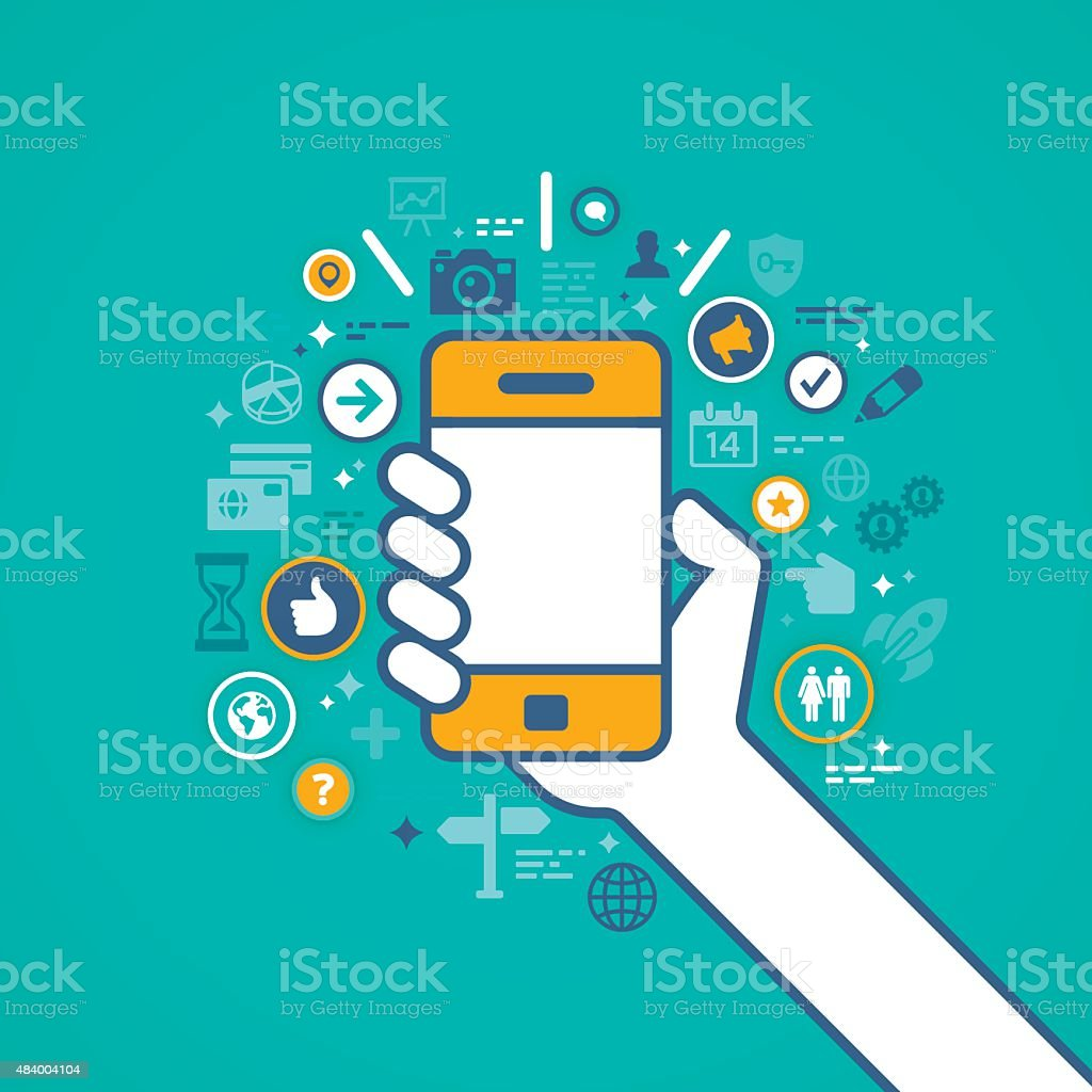 Hand Holding Mobile Phone with Apps vector art illustration