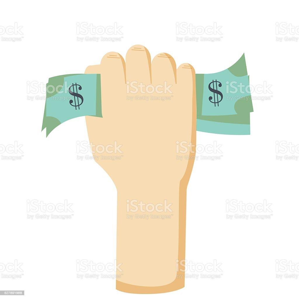 Hand holding money vector.