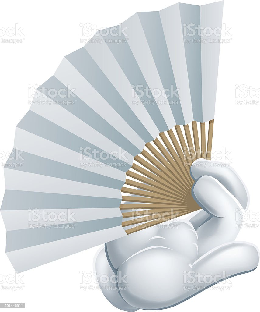 Hand holding paper fan royalty-free stock vector art
