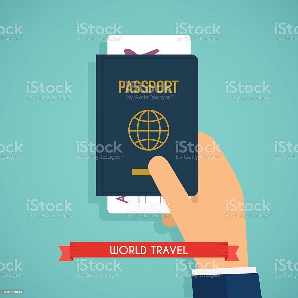 Hand holding passport with tickets. Passport icon on isolated ba vector art illustration