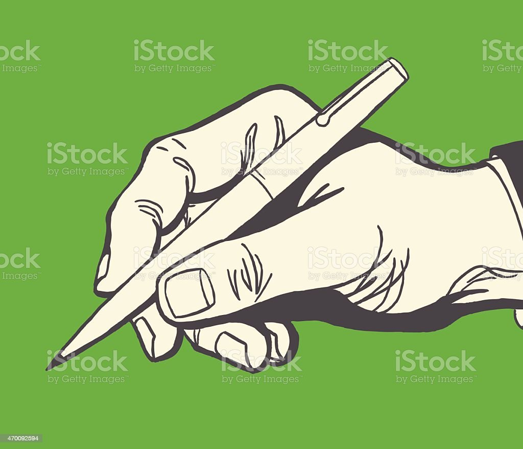 Hand Holding Pen vector art illustration