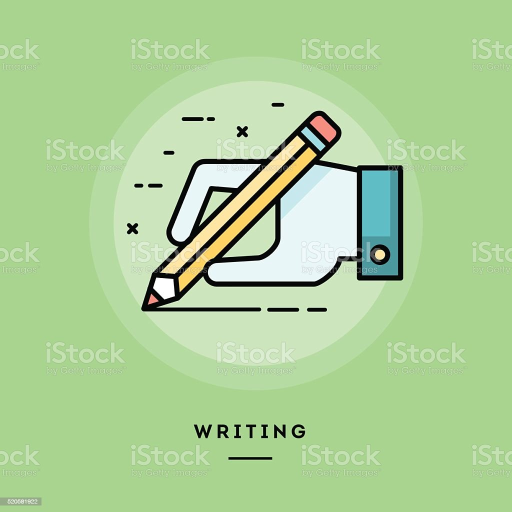 Hand holding pencil and writing, flat design thin line banner vector art illustration