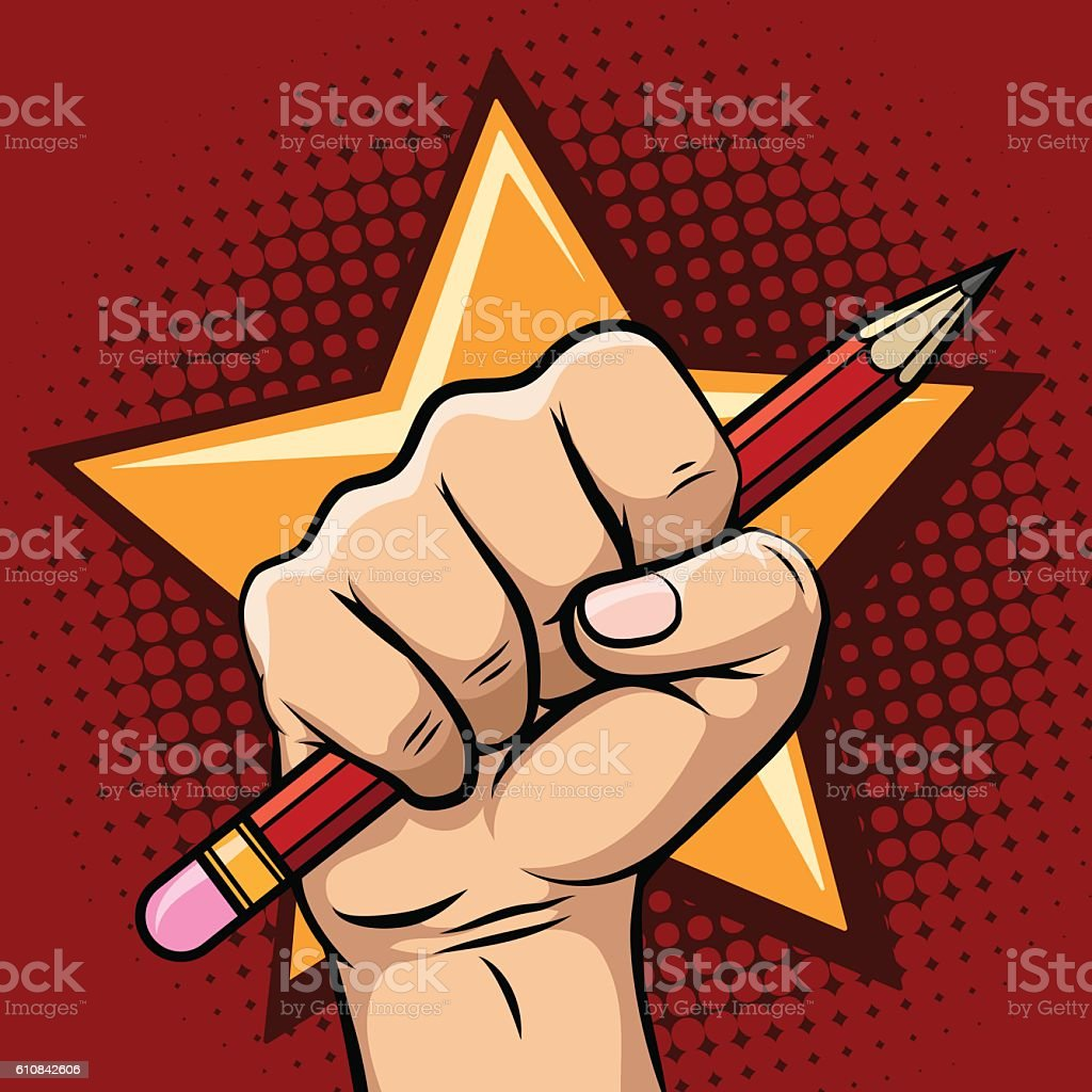 Hand holding pencil illustration vector art illustration
