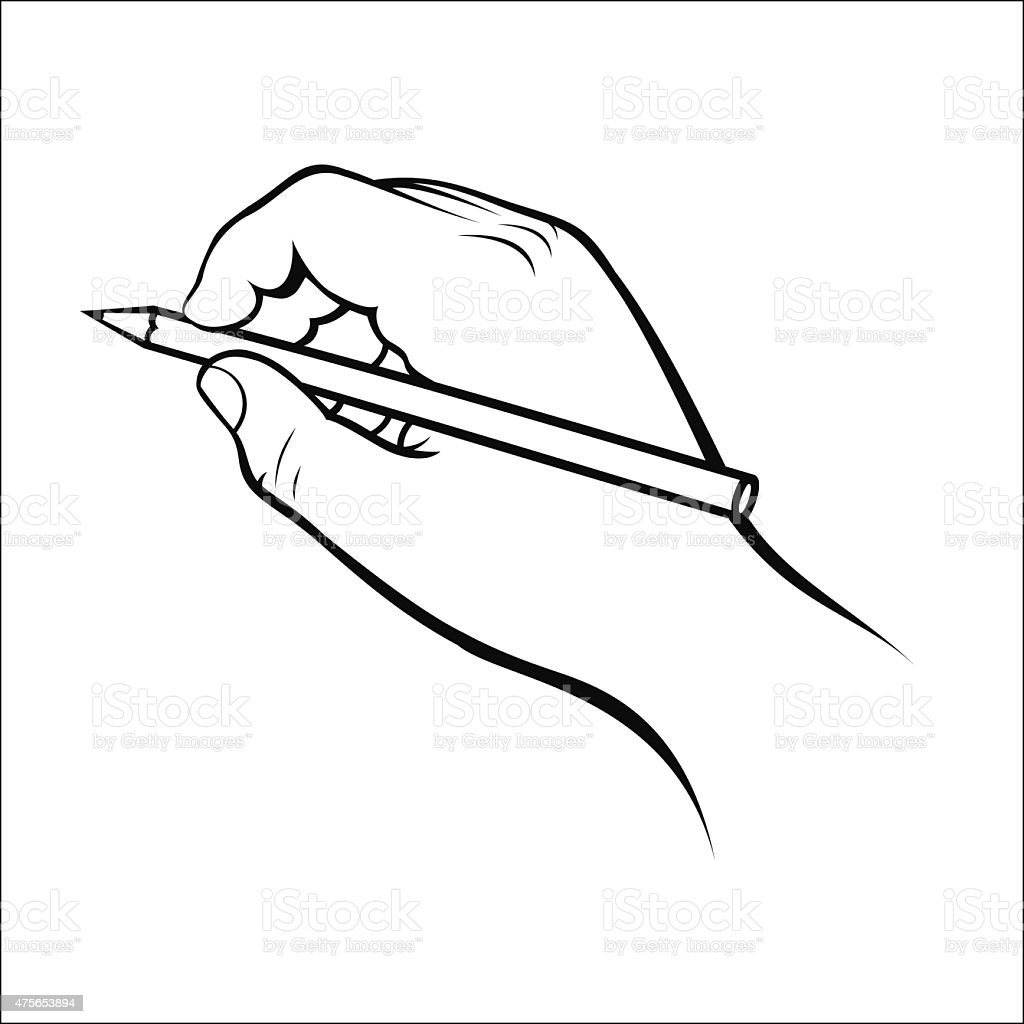 Hand holding pencil royalty-free stock vector art