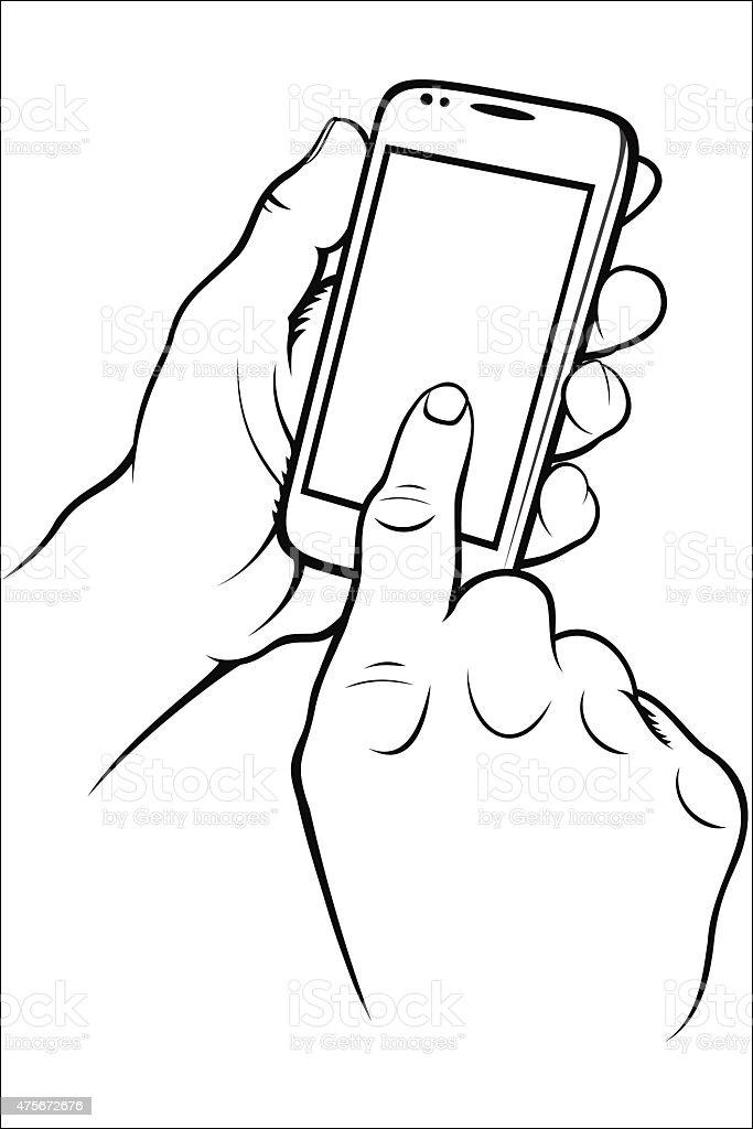 Hand holding phone royalty-free stock vector art