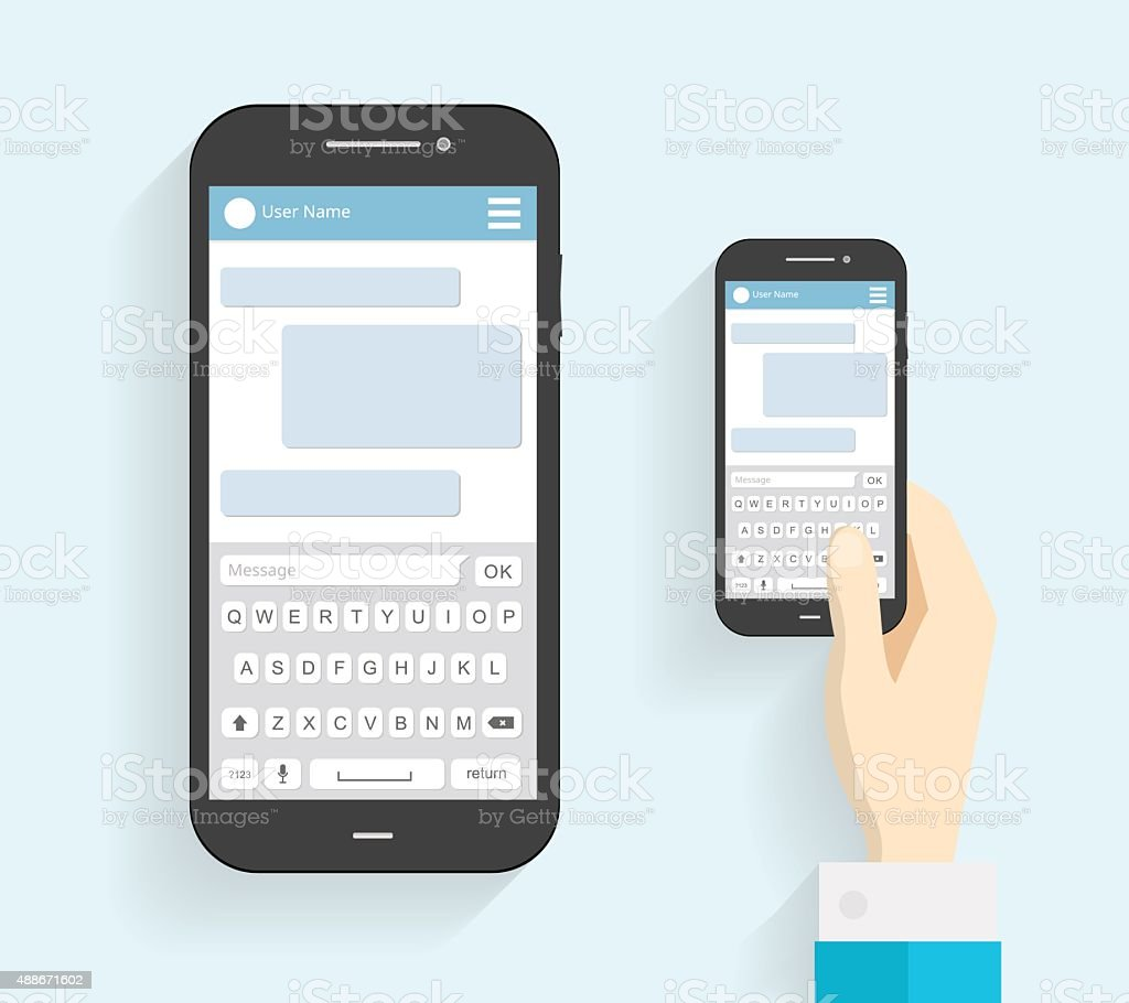 Hand Holding Phone with Keyboard. Phone Message Template. vector art illustration