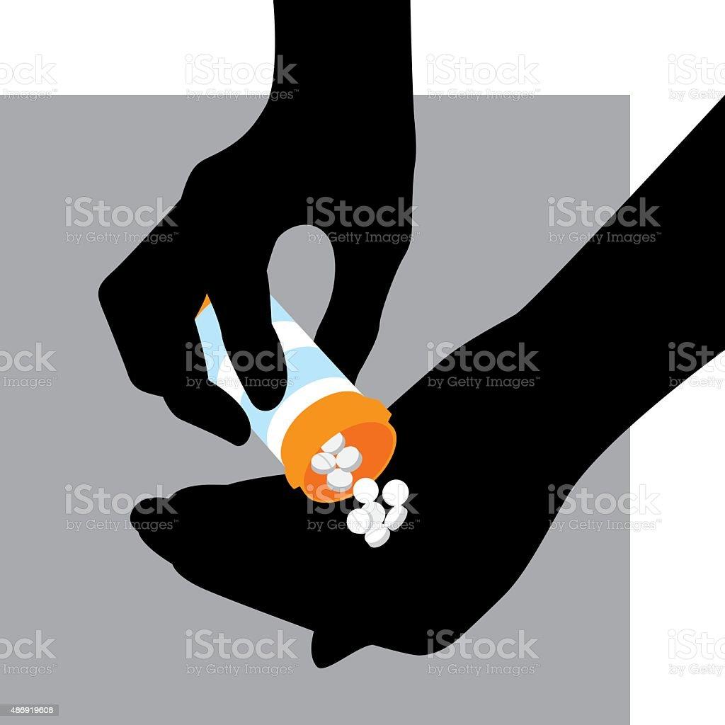 Hand Holding Prescription Drugs Silhouette vector art illustration