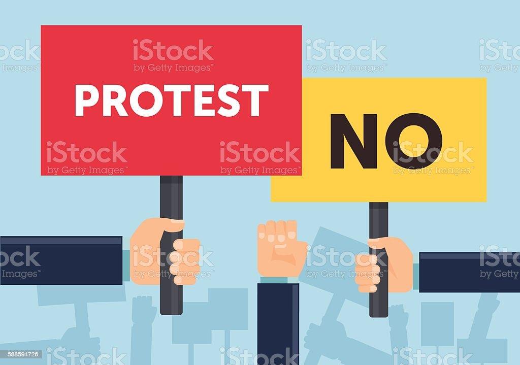 Hand holding protest sign flat illustration. Protest or demonstration. vector art illustration