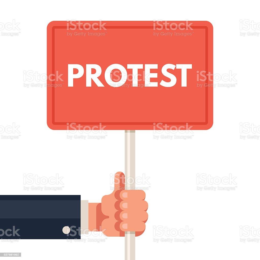 Hand holding protest sign vector art illustration
