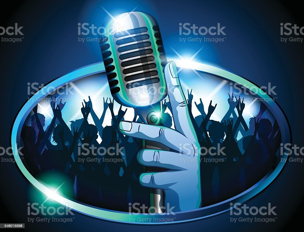 Hand holding Retro Mic/ Microphone in front of huge crowd vector art illustration