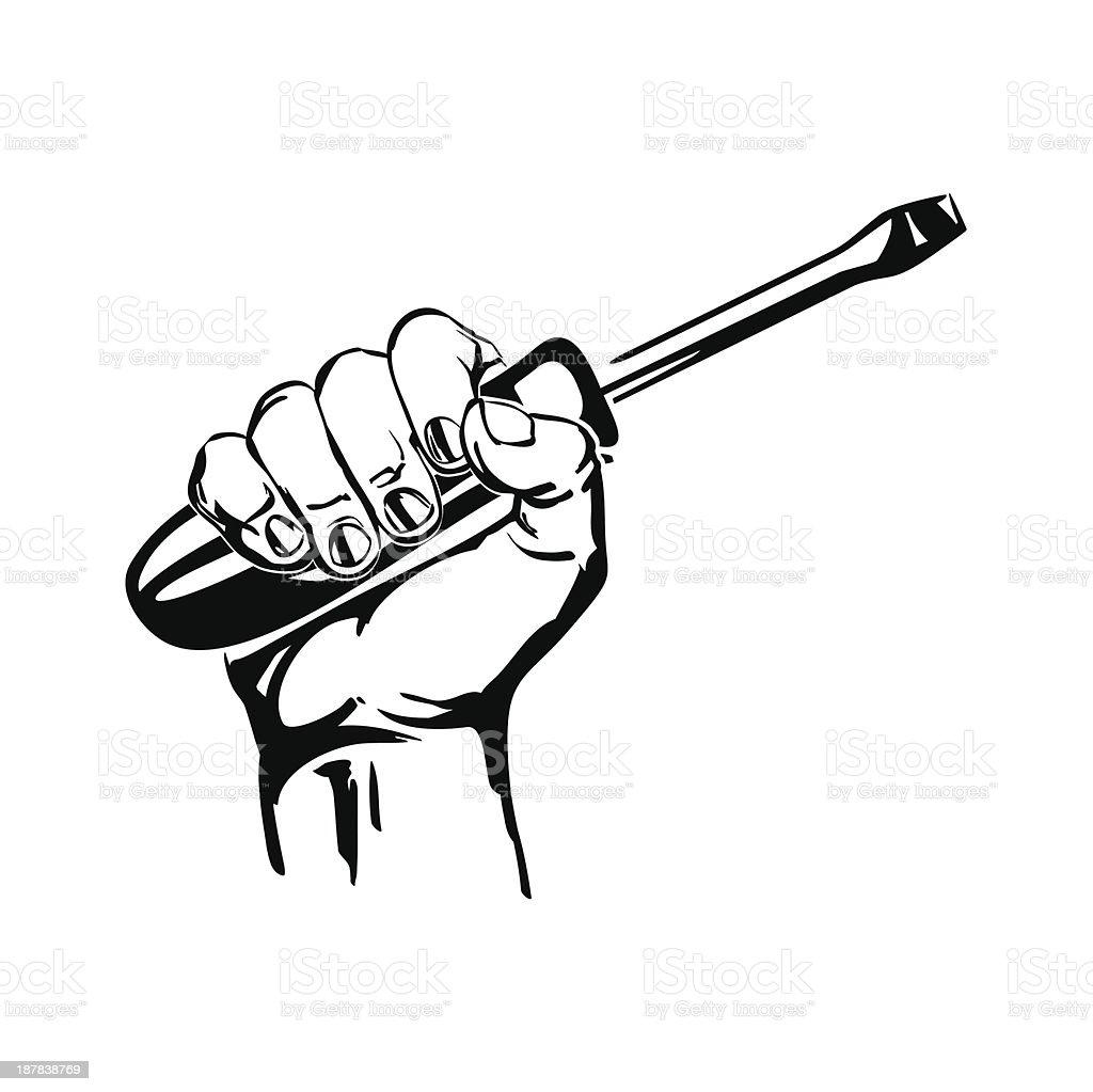 hand holding screwdriver illustration royalty-free stock vector art