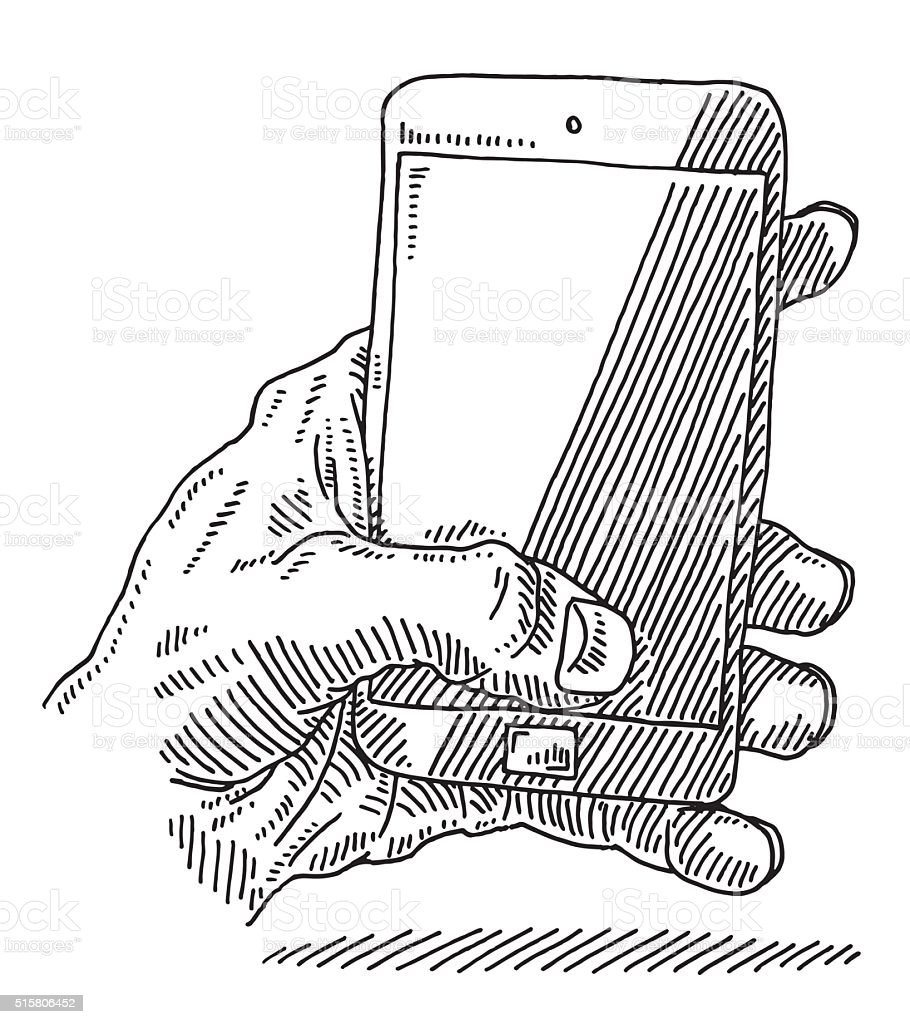 Hand Holding Smart Phone Drawing vector art illustration