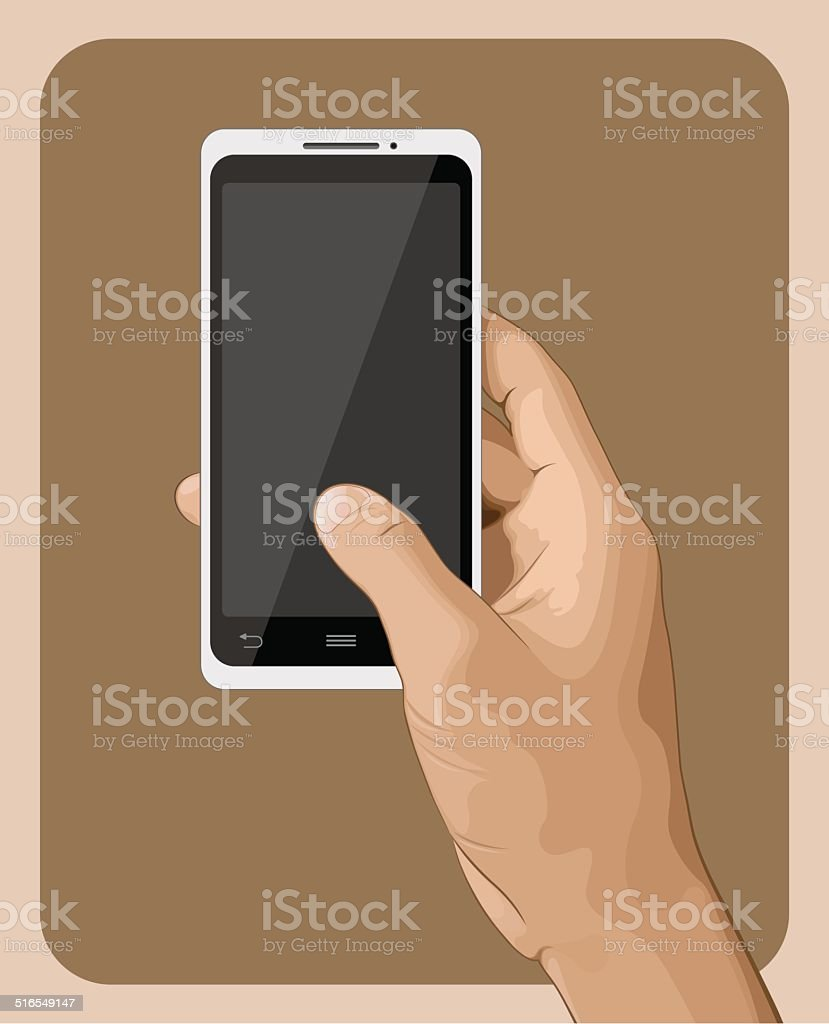 Hand Holding Smart Phone III vector art illustration