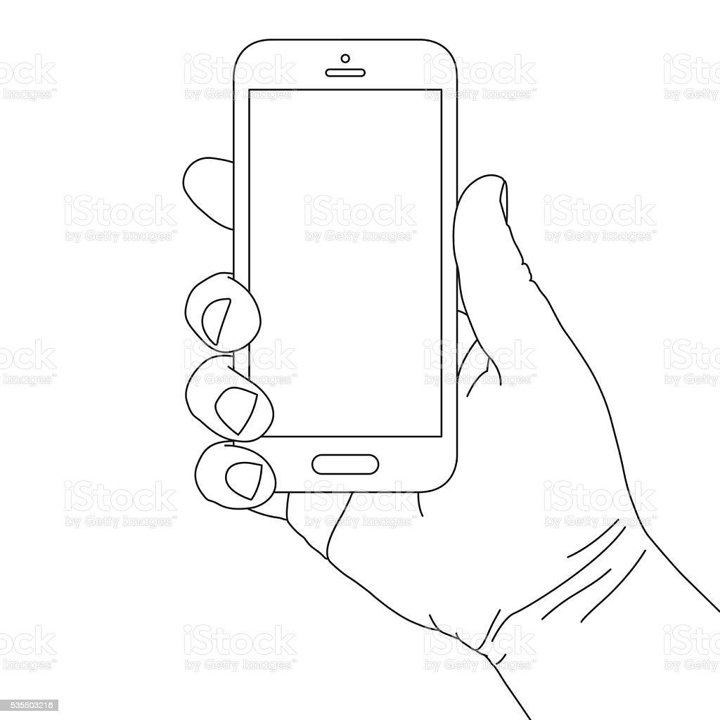 Hand Holding Smart Phone stock vector art 535503216 | iStock