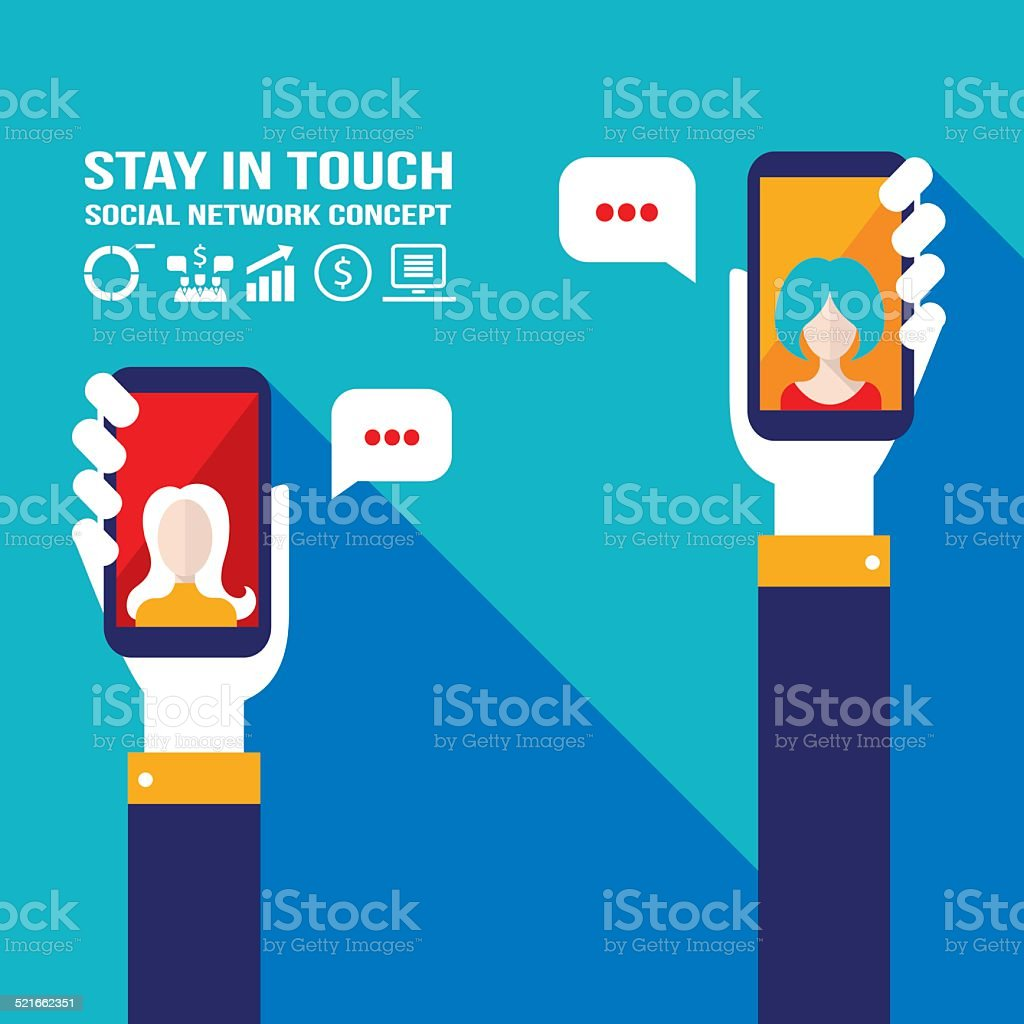 Hand holding smart phone.Communication, social network vector art illustration