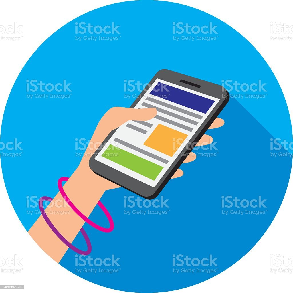 Hand Holding Smartphone Icon Flat vector art illustration