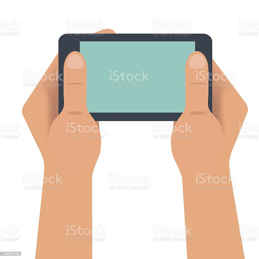 Hand holding smartphone landscape royalty-free stock vector art