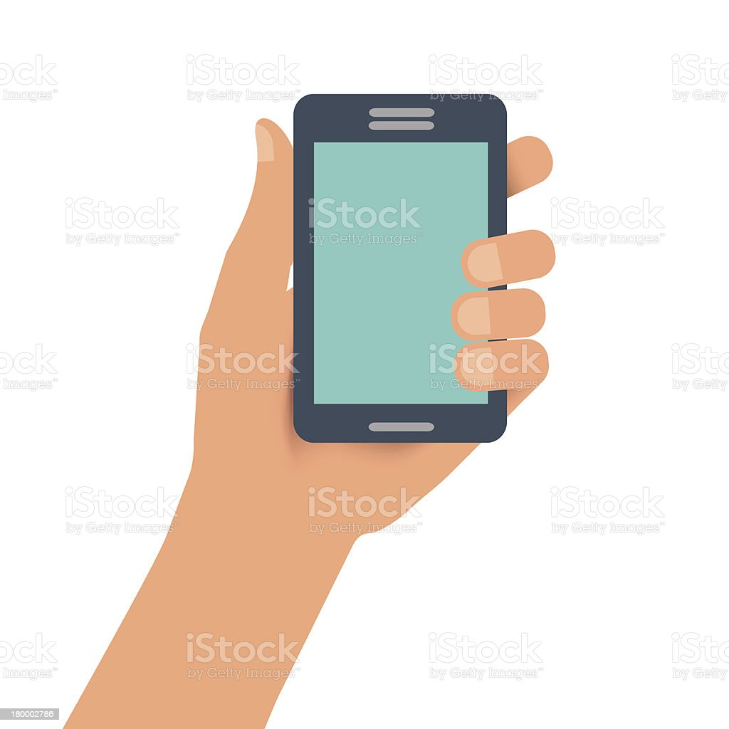Hand holding smartphone royalty-free stock vector art