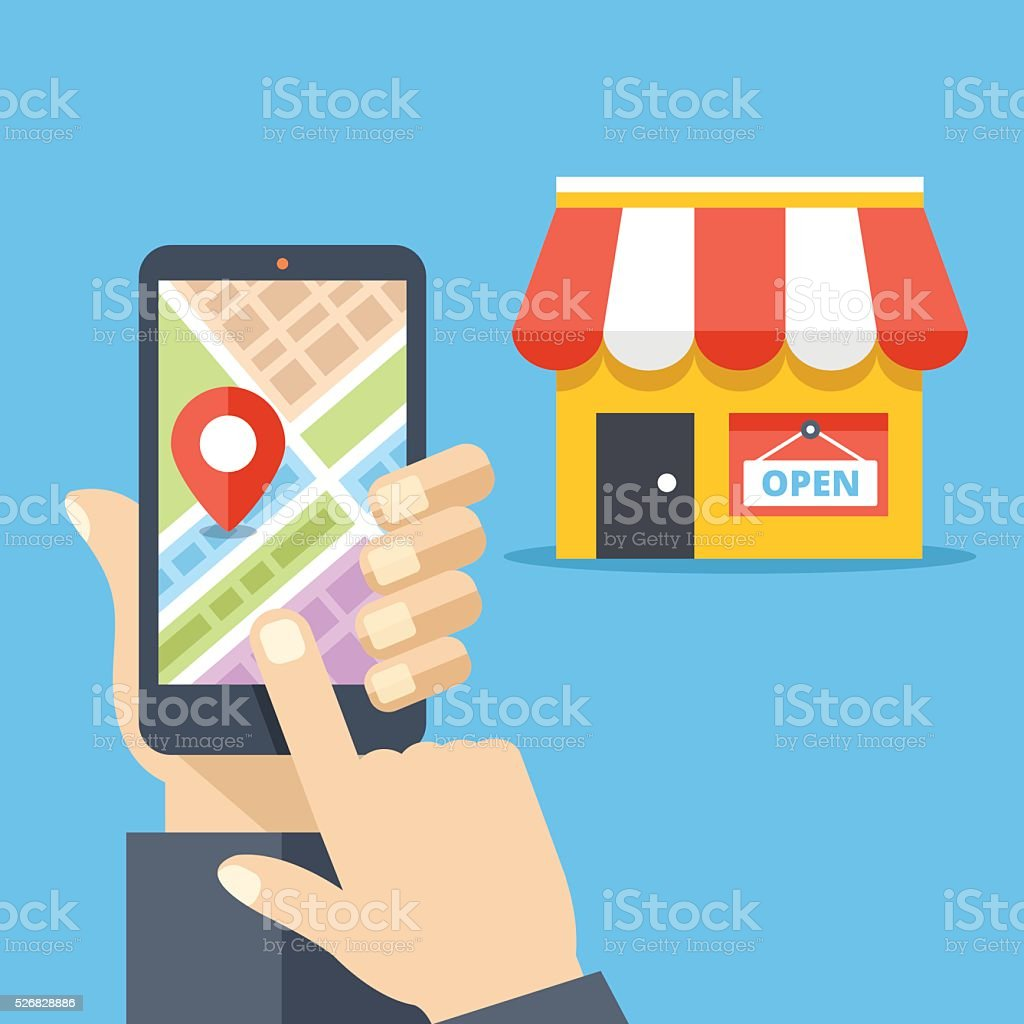 Hand holding smartphone with city map, store location on screen vector art illustration
