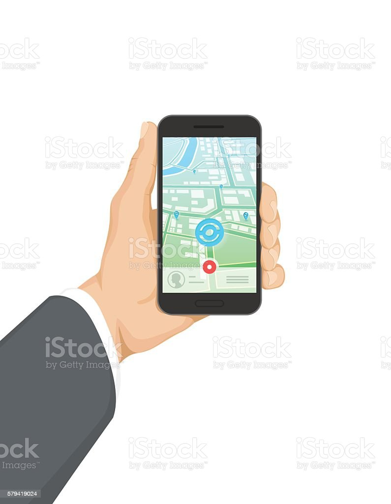 Hand Holding Smartphone with Mobile Game vector art illustration